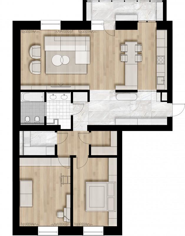 Трехкомнатная квартира В ЖК Орион – Galkinstudio.ru