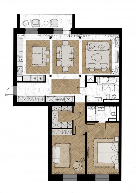 Четырех комнатная квартира  г.Тюмень ЖК Орион – Galkinstudio.ru